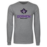 Grey Long Sleeve T Shirt-Goshen Leaf and Wordmark