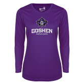 Ladies Syntrel Performance Purple Longsleeve Shirt-Goshen Leaf and Wordmark