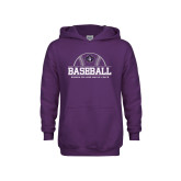 Youth Purple Fleece Hoodie-Baseball