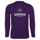Performance Purple Longsleeve Shirt-Goshen Leaf and Wordmark