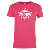Ladies Fuchsia T Shirt-Goshen Leaf