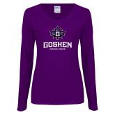 Ladies Purple Long Sleeve V Neck Tee-Goshen Leaf and Wordmark