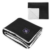 Super Soft Luxurious Black Sherpa Throw Blanket-Goshen Leaf