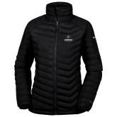 Columbia Powder Lite Ladies Black Jacket-Goshen Leaf and Wordmark