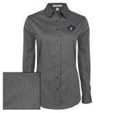 Ladies Grey Tonal Pattern Long Sleeve Shirt-Goshen Leaf