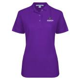 Ladies Easycare Purple Pique Polo-Goshen Leaf and Wordmark