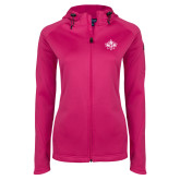Ladies Tech Fleece Full Zip Hot Pink Hooded Jacket-Goshen Leaf