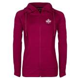 Ladies Sport Wick Stretch Full Zip Deep Berry Jacket-Goshen Leaf