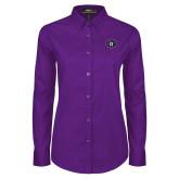 Ladies Purple Twill Button Down Long Sleeve-Goshen Leaf