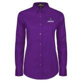 Ladies Purple Twill Button Down Long Sleeve-Goshen Leaf and Wordmark
