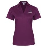 Ladies Purple Performance Fine Jacquard Polo-Goshen Leaf and Wordmark