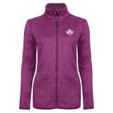 Dark Pink Heather Ladies Fleece Jacket-Goshen Leaf