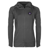 Ladies Sport Wick Stretch Full Zip Charcoal Jacket-Goshen Leaf