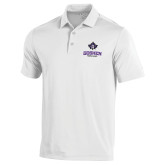 Under Armour White Performance Polo-Goshen Leaf and Wordmark