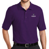 Purple Easycare Pique Polo-Goshen Leaf and Wordmark