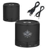 Wireless HD Bluetooth Black Round Speaker-Goshen Leaf Engraved