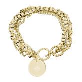 Olivia Sorelle Gold Round Pendant Multi strand Bracelet-Goshen Leaf Engraved