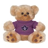 Plush Big Paw 8 1/2 inch Brown Bear w/Purple Shirt-Goshen Leaf