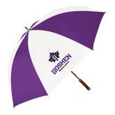 64 Inch Purple/White Umbrella-Goshen Leaf and Wordmark