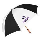 64 Inch Black/Whit Umbrella-Goshen Leaf and Wordmark