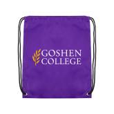 Purple Drawstring Backpack-Goshen College Stacked