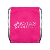 Pink Drawstring Backpack-Goshen College Stacked