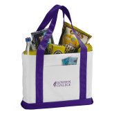 Contender White/Purple Canvas Tote-Goshen College Stacked