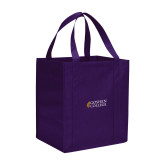 Non Woven Purple Grocery Tote-Goshen College Stacked
