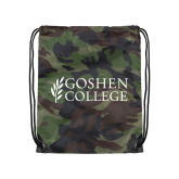 Camo Drawstring Backpack-Goshen College Stacked