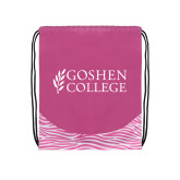 Nylon Zebra Pink/White Patterned Drawstring Backpack-Goshen College Stacked
