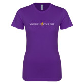 Next Level Ladies SoftStyle Junior Fitted Purple Tee-Goshen College Logo
