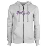 ENZA Ladies White Fleece Full Zip Hoodie-Goshen College Stacked