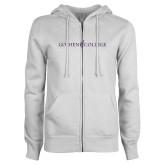 ENZA Ladies White Fleece Full Zip Hoodie-Goshen College Logo