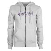 ENZA Ladies White Fleece Full Zip Hoodie-I Purple Glitter
