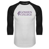 White/Black Raglan Baseball T Shirt-Goshen College Stacked