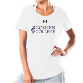 Ladies Under Armour White Charged Cotton Tee-Goshen College Stacked