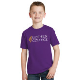 Youth Purple T Shirt-Goshen College Stacked