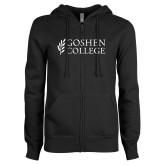 ENZA Ladies Black Fleece Full Zip Hoodie-Goshen College Stacked