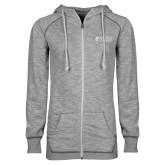 ENZA Ladies Grey/Black Marled Full Zip Hoodie-Goshen College Stacked