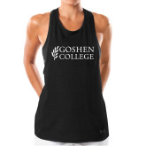 Ladies Under Armour Black Pinhole Tank-Goshen College Stacked