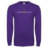 Purple Long Sleeve T Shirt-Goshen College Logo