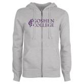 ENZA Ladies Grey Fleece Full Zip Hoodie-Goshen College Stacked