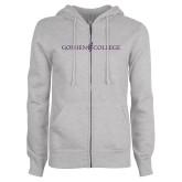ENZA Ladies Grey Fleece Full Zip Hoodie-Goshen College Logo