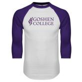 White/Purple Raglan Baseball T Shirt-Goshen College Stacked
