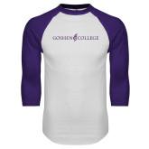 White/Purple Raglan Baseball T Shirt-Goshen College Logo