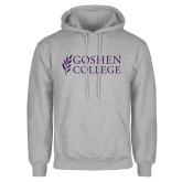 Grey Fleece Hoodie-Goshen College Stacked