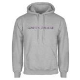 Grey Fleece Hoodie-Goshen College Flat Word Mark