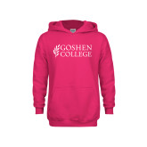 Youth Hot Pink Fleece Hoodie-Goshen College Stacked