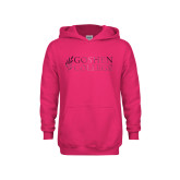 Youth Hot Pink Fleece Hoodie-Goshen College Stacked Foil