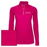 Ladies Pink Raspberry Sport Wick Textured 1/4 Zip Pullover-Goshen College Stacked